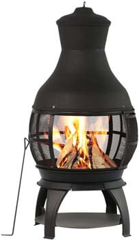 1. BALI OUTDOORS Outdoor Fireplace Wooden Fire Pit, Chimenea, Black