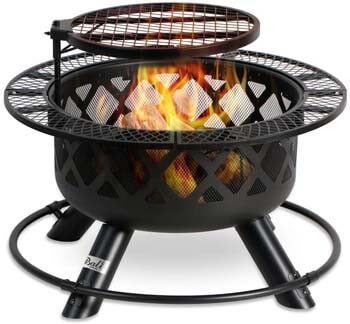 10. BALI OUTDOORS Wood Burning Fire Pit Backyard with Cooking Grill, 32in, Black, 24in