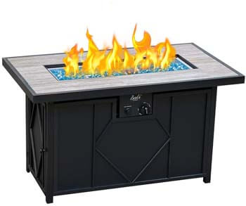 5. BALI OUTDOORS Fire Pit Propane Gas Firepit Table Rectangular Tabletop 42in 60,000BTU