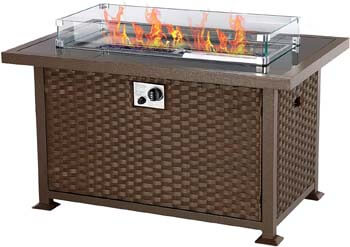 8. U-MAX 44in Outdoor Propane Gas Brown PE Rattan Fire Pit Table