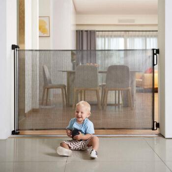 7. EasyBaby Products Extra Wide Indoor Outdoor Retractable Baby Gate, Grey