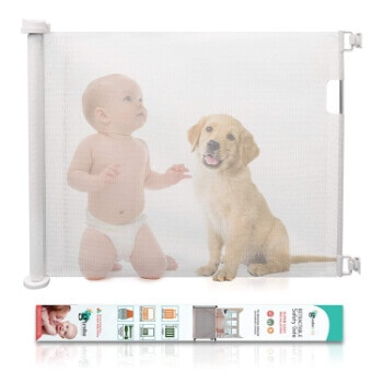 2. Retractable Baby Gate, GIROBE Mesh Safety Gate for Babies and Pets, Pet Dog Gate (Silver White)