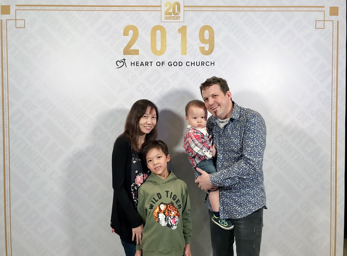 Christian, with his wife who co-leads with him in the ministry and their two adorable boys.