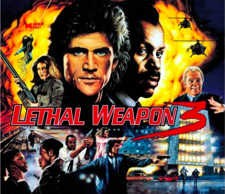 Lethal Weapon 3 Pinball Backglass
