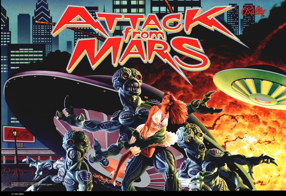 Attack From Mars Pinball Backglass