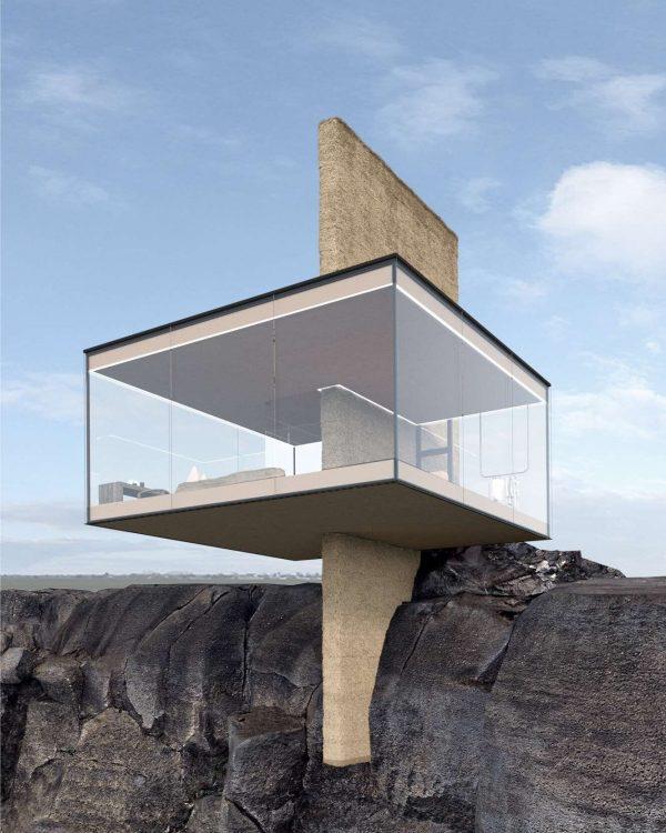 Yakusha-Design-koncepcja niewielkiego domu na klifie 03