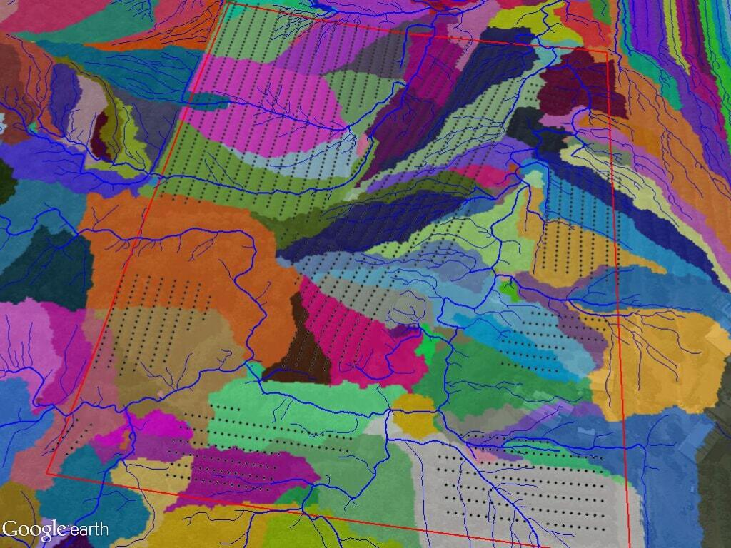 Water flow zones overlaid with tree sites