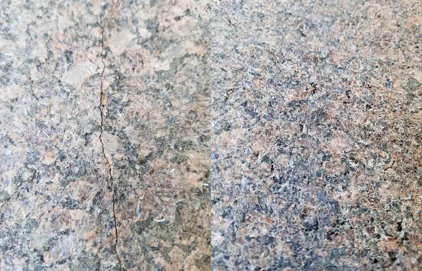 Реставрация трещины на ступени из гранита Дымарский