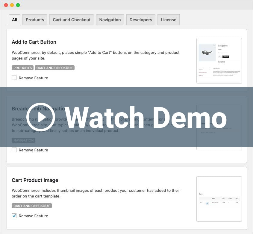Watch a Remove WooCommerce Features Demo