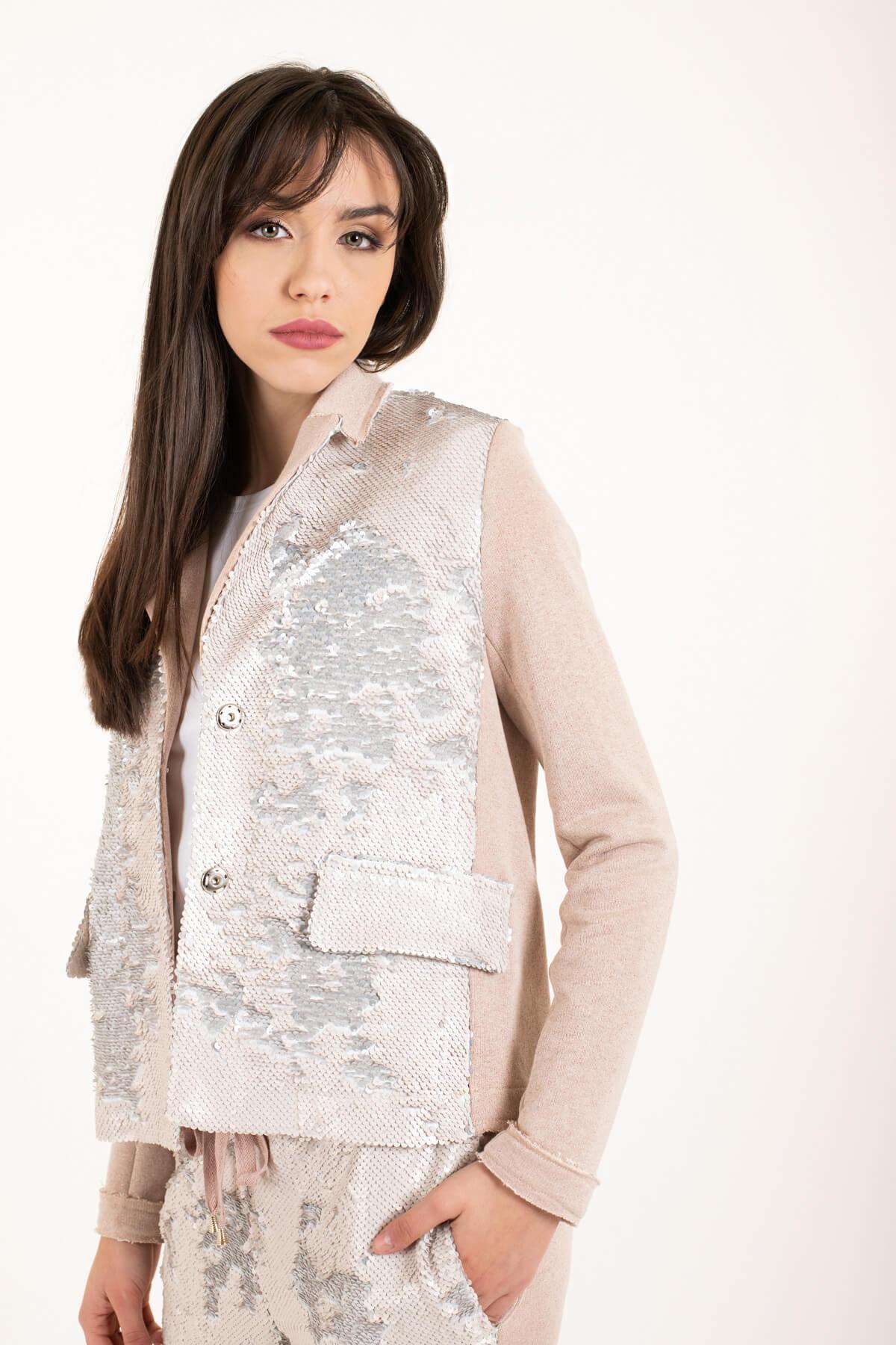 giacca felpa paillettes rosa art 3