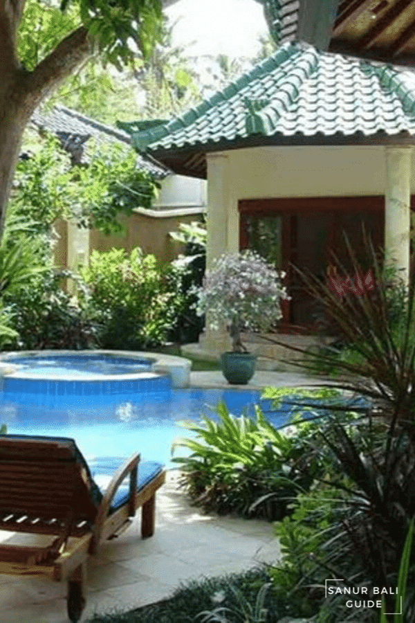 A sun bed to sit on overlooking your private pool in a Sanur Villa