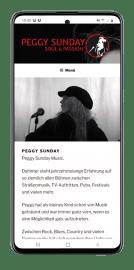 Peggy Sunday Website Mobilansicht