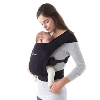 3. Ergobaby Embrace Baby Wrap Carrier, Infant Carrier for Newborns 7-25 Pounds, Pure Black