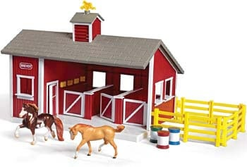 6. Breyer Stablemates Red Stable and Horse Set