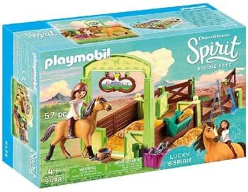 7. PLAYMOBIL Spirit Riding Free Lucky & Spirit with Horse Stall Playset, Multicolor