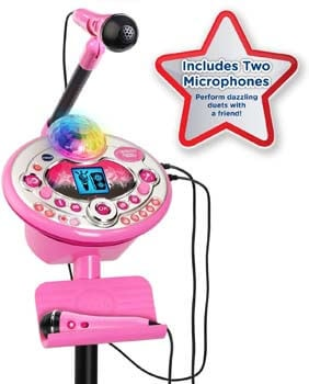 4. VTech Kidi Star Karaoke System 2 Mics with Mic Stand & AC Adapter, Pink