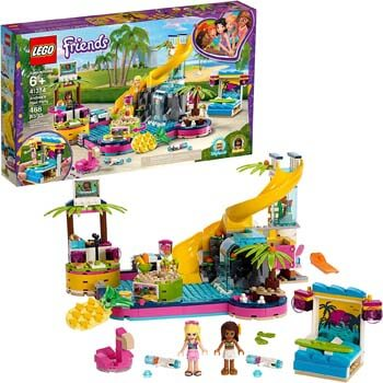 5. LEGO Friends Andrea's Pool Party 41374 Toy Pool Building Set