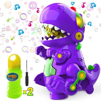 10. WisToyz Bubble Machine Dinosaur Bubble Blower
