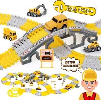 5. iHaHa 236PCS Construction Race Tracks for Kids Boys Toys