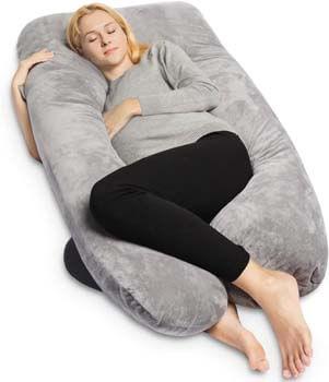 3. QUEEN ROSE Pregnancy Pillow with Organic Velvet Cover-U-Shape Full Body Maternity Pillow