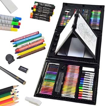 2. Sunnyglade 185 Pieces Double Sided Trifold Easel Art Set