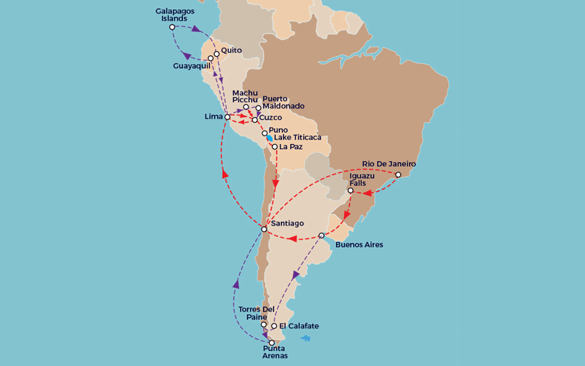 Essence of South America Route Map