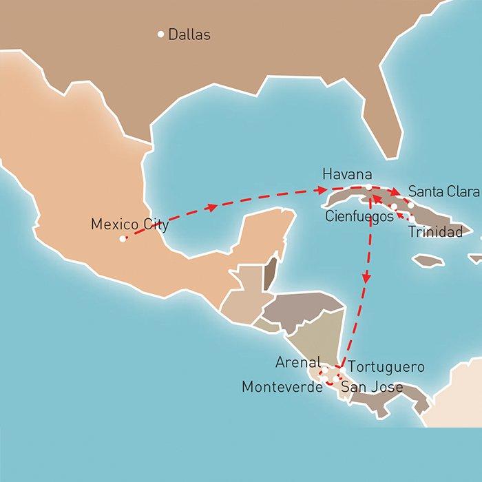 Splendours of Mexico, Cuba & Costa Rica Route Map