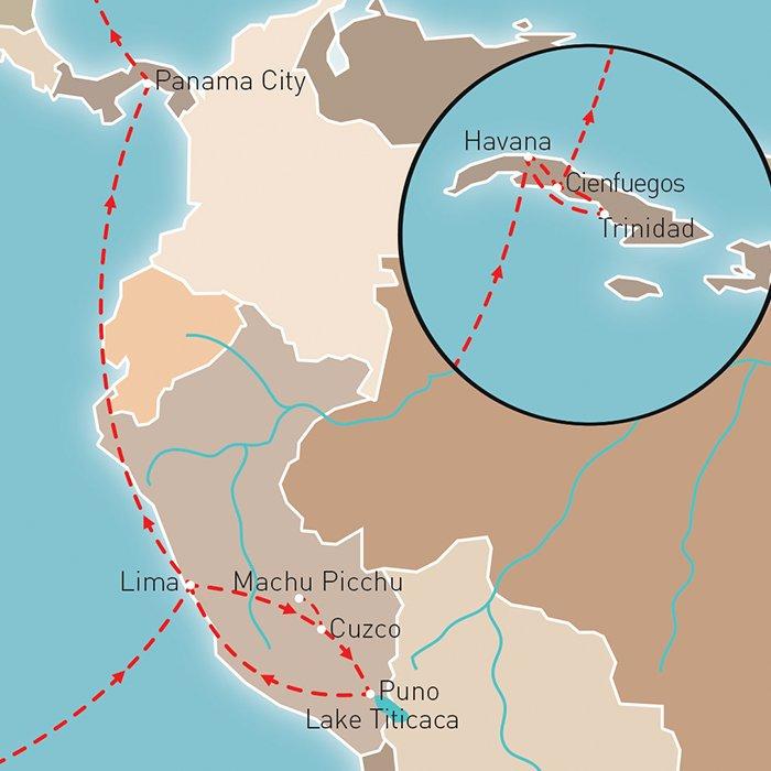 The Spirit Of Peru, Panama & Cuba Route Map
