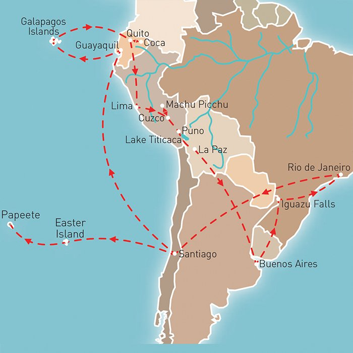 Treasures of South America Route Map