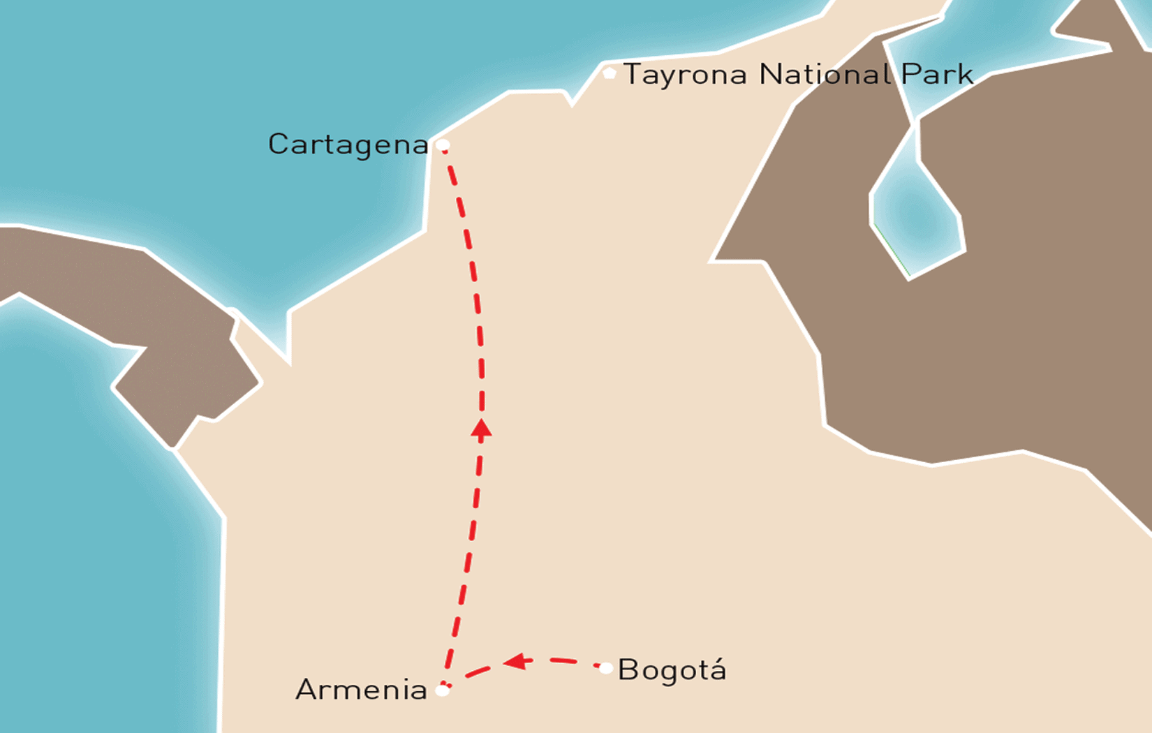 Highlights of Colombia Route Map