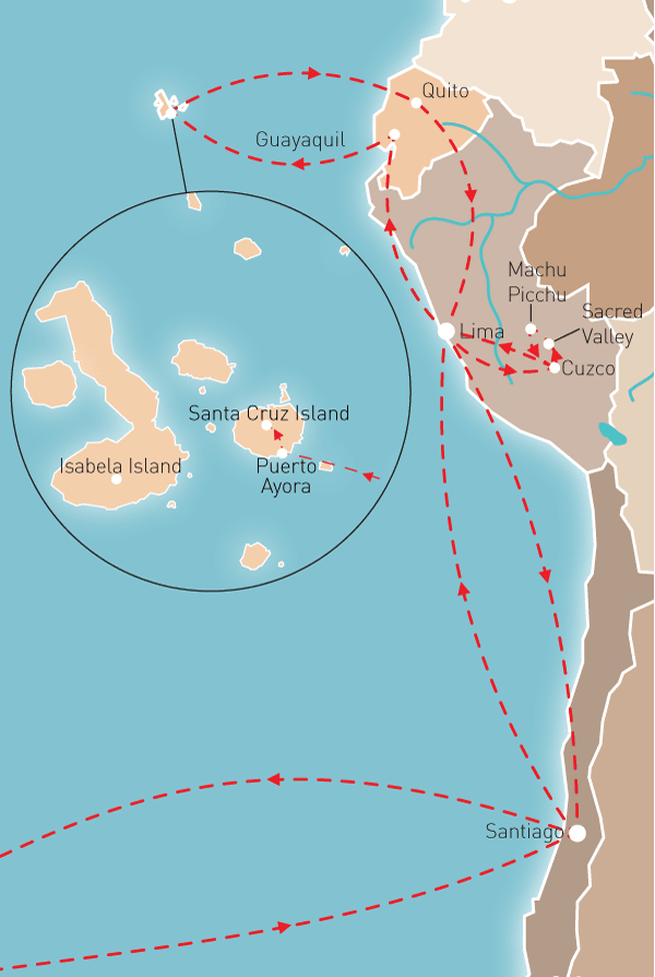 Galapagos & Machu Picchu Route Map