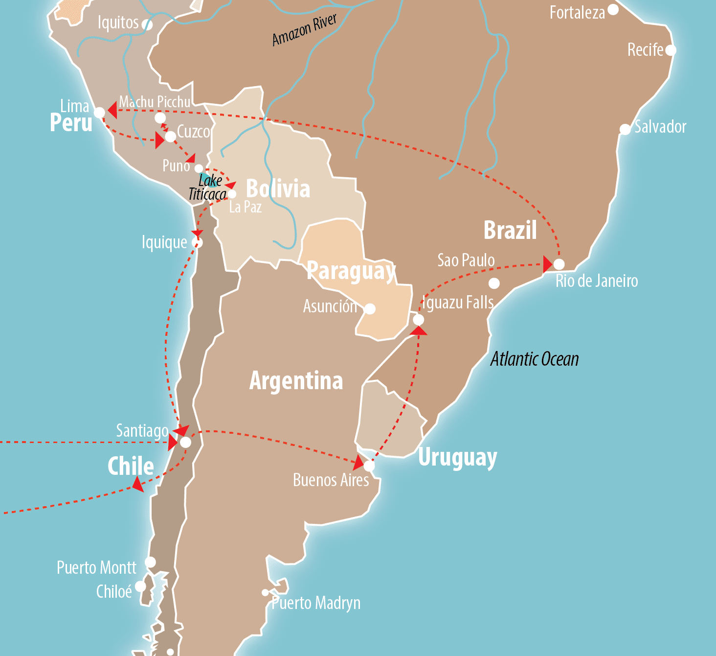 Must-See South America Route Map