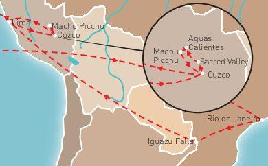 Brazil & Peru Route Map