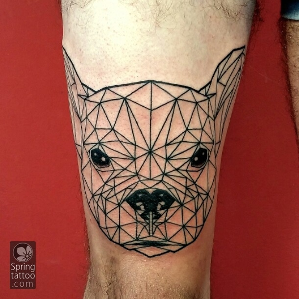 dog tattoo by Aviv Rotshas