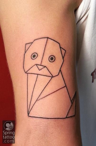 cat origami tattoo by Aviv Rotshas