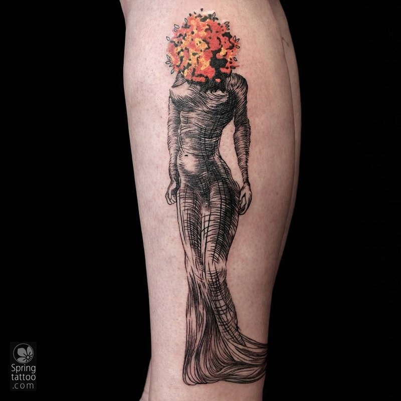 dali woman tattoo by Aviv Rotshas
