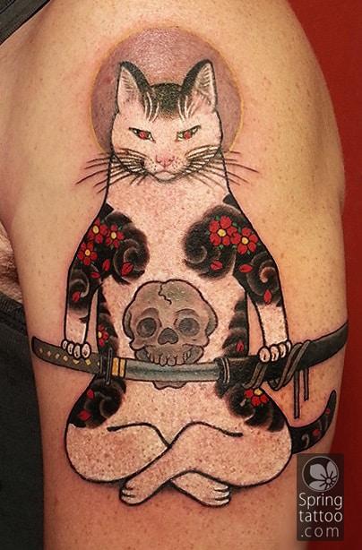 monmon cat tattoo by Aviv Rotshas