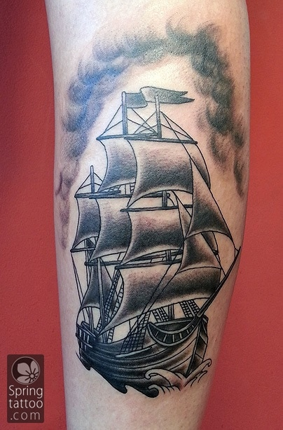 ship tattoo by Aviv Rotshas