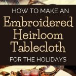 embroidery supplies, embroidered tablecloth