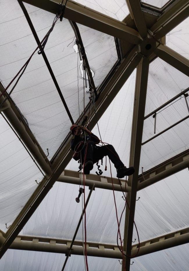 Installation von Fensterhebern in einem Zoo durch Industriekletterer