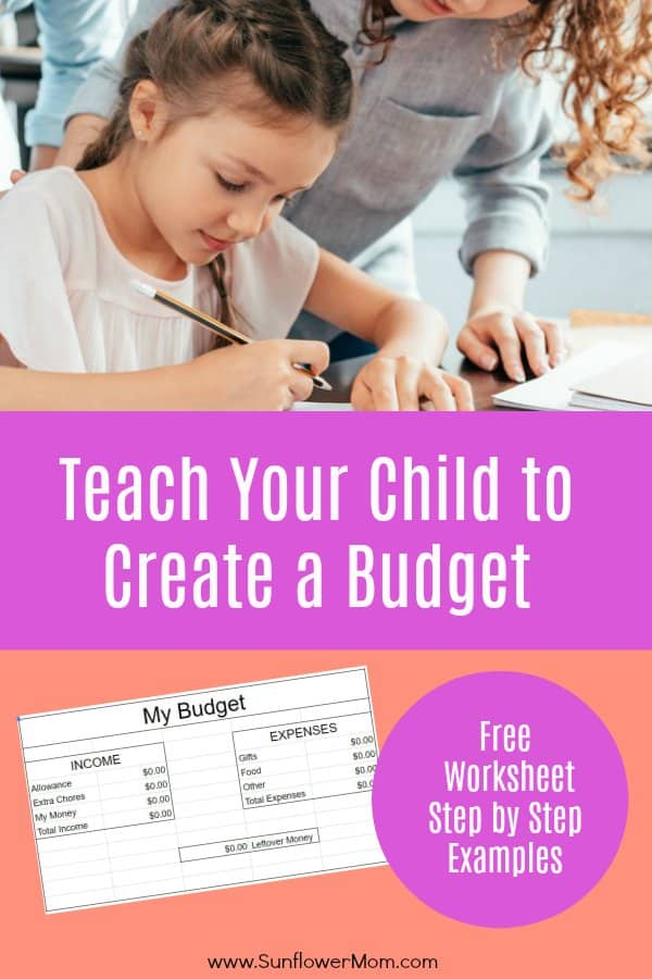 Budgeting for kids is straightforward with this free template. You\'ll teach your child the basics of a budget for a short time period, setting them up for success in the long run. Money doesn\'t have to be scary for kids. #money #budget #Parenting101 #money #positiveparenting #sunflowermom
