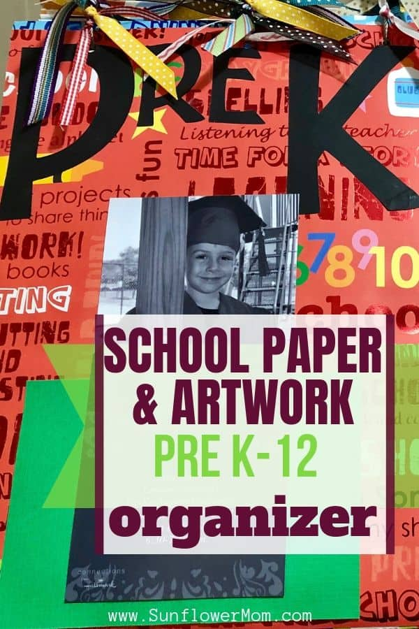How to create a school paper and artwork organizer for your children to last from pre-K to senior year. This portable schoolwork and artwork organizer is durable and sentimental. It holds all your most precious memories in one convenient place. #positiveparenting #backtoschool #school #sunflowermom