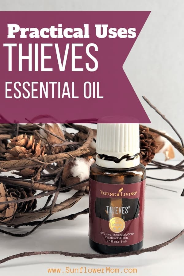20 practical uses for Thieves essential oil. Yes, it smells like Christmas and you can clean your house with the cleaning line but it has many practical uses in the small essential oil bottle. #Natural #Wellness #EssentialOils #HealthyLiving #sunflowermom