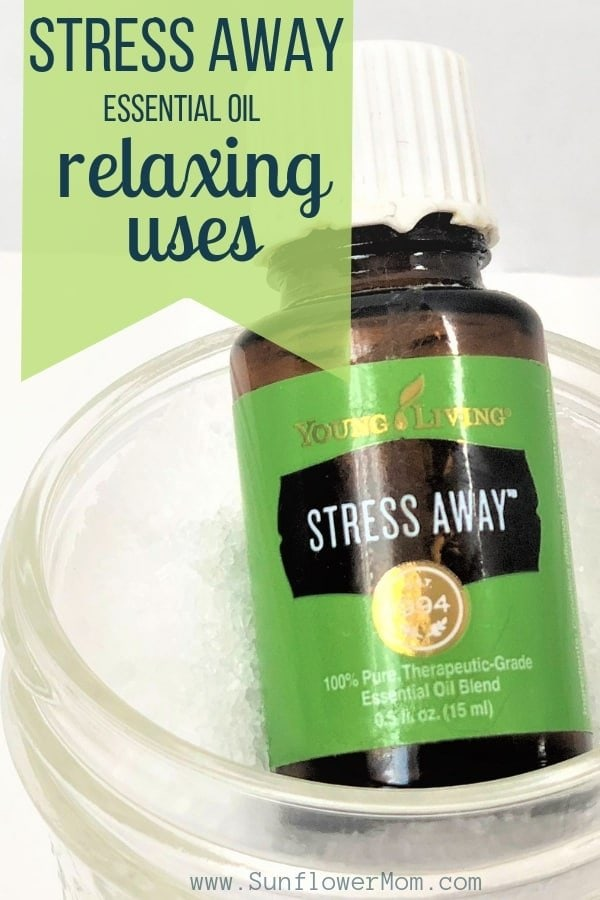 Stress Away essential oil is a relaxing scent that smells primarily of vanilla and lime.  It is true to its name - it takes the stress away! Here are 15 relaxing ways to use Stress Away. #Natural #Wellness #EssentialOils #HealthyLiving #Aromatherapy #EssentialOilBlends #sunflowermom
