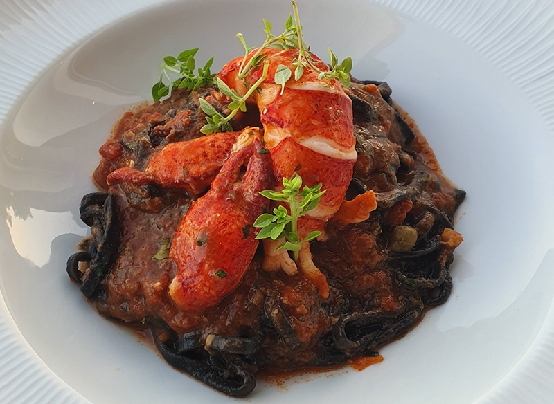 Dark pasta with lobster