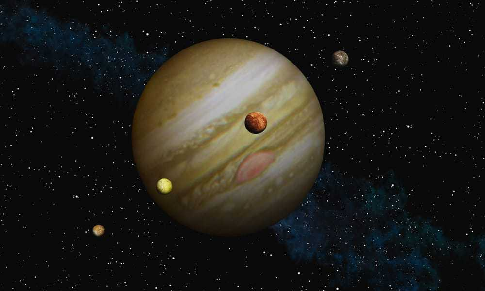 Jupiter through telescope of NASA and it's four larger moons
