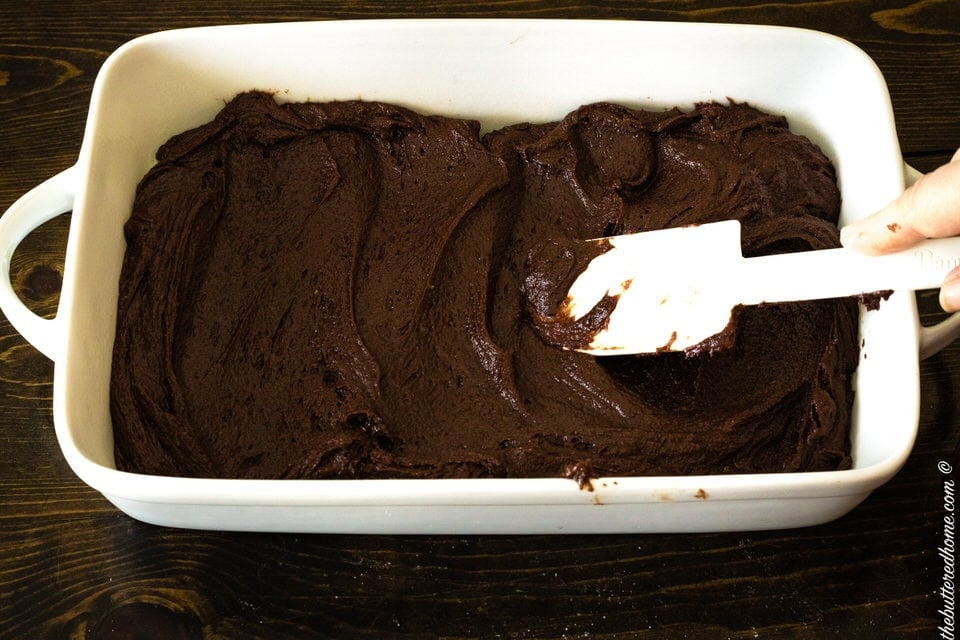 brownies mixed and spread in baking pan