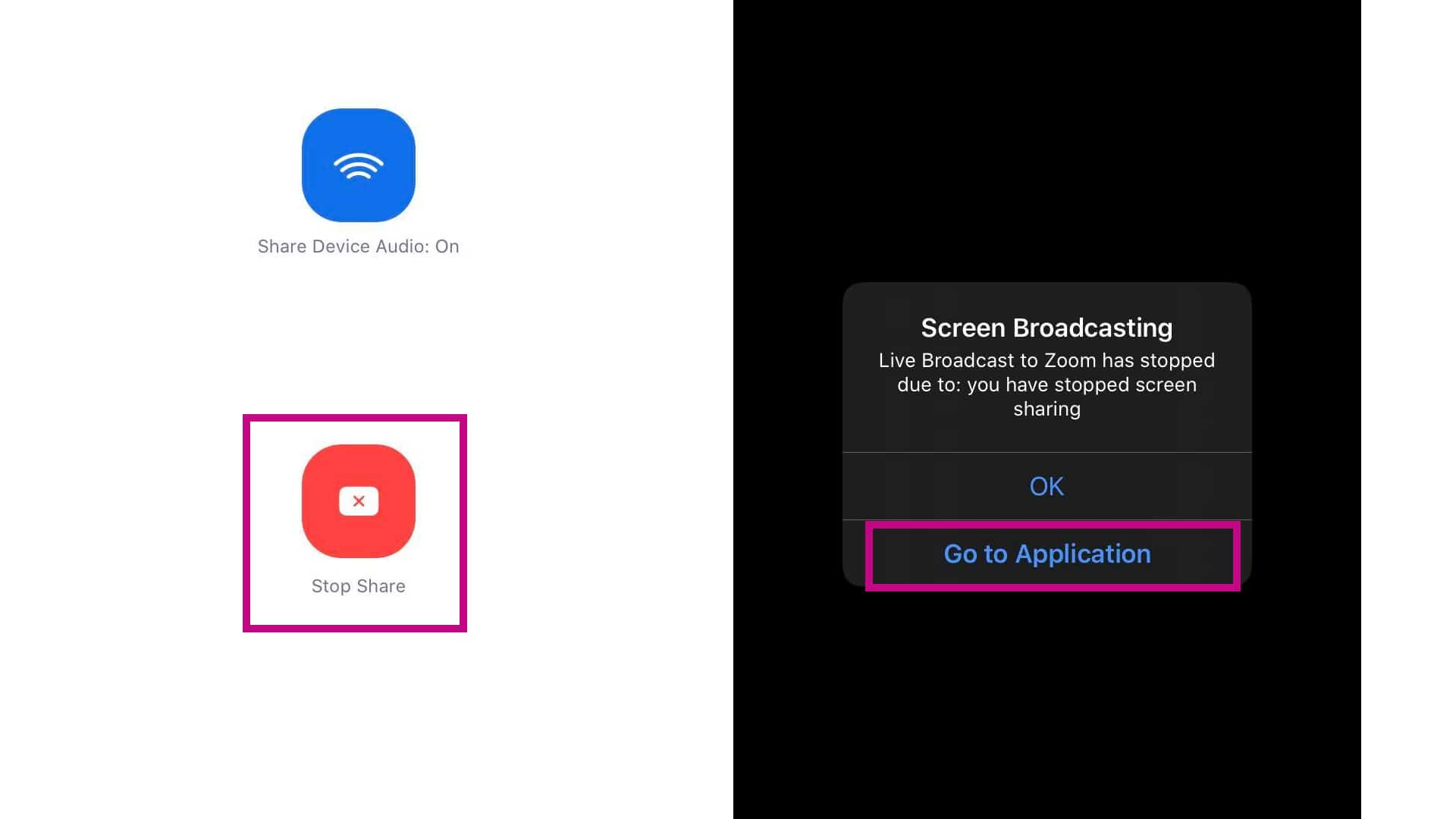 zoom share screen stop broadcast