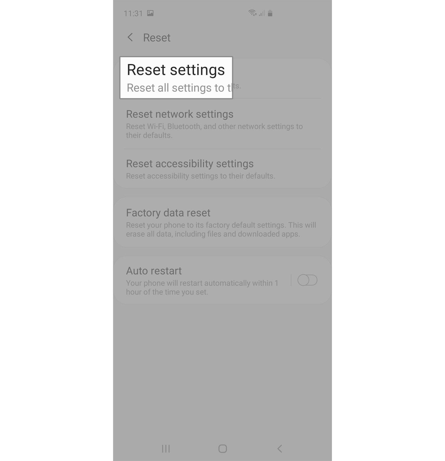 reset galaxy s20 settings reset settings option