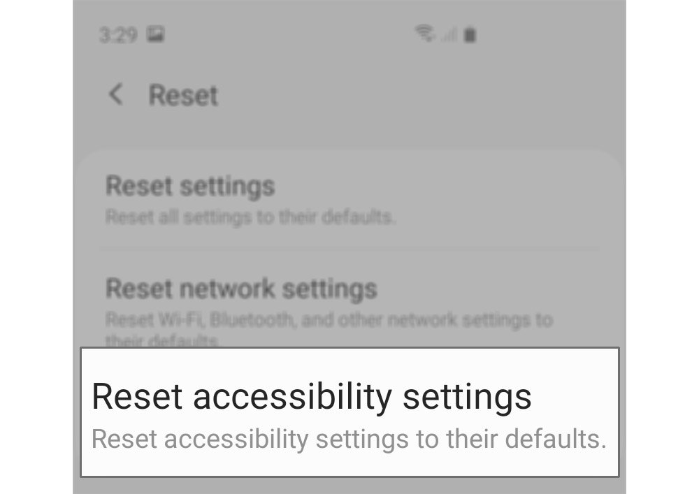 reset accessibility settings galaxy s20 reset acc settings